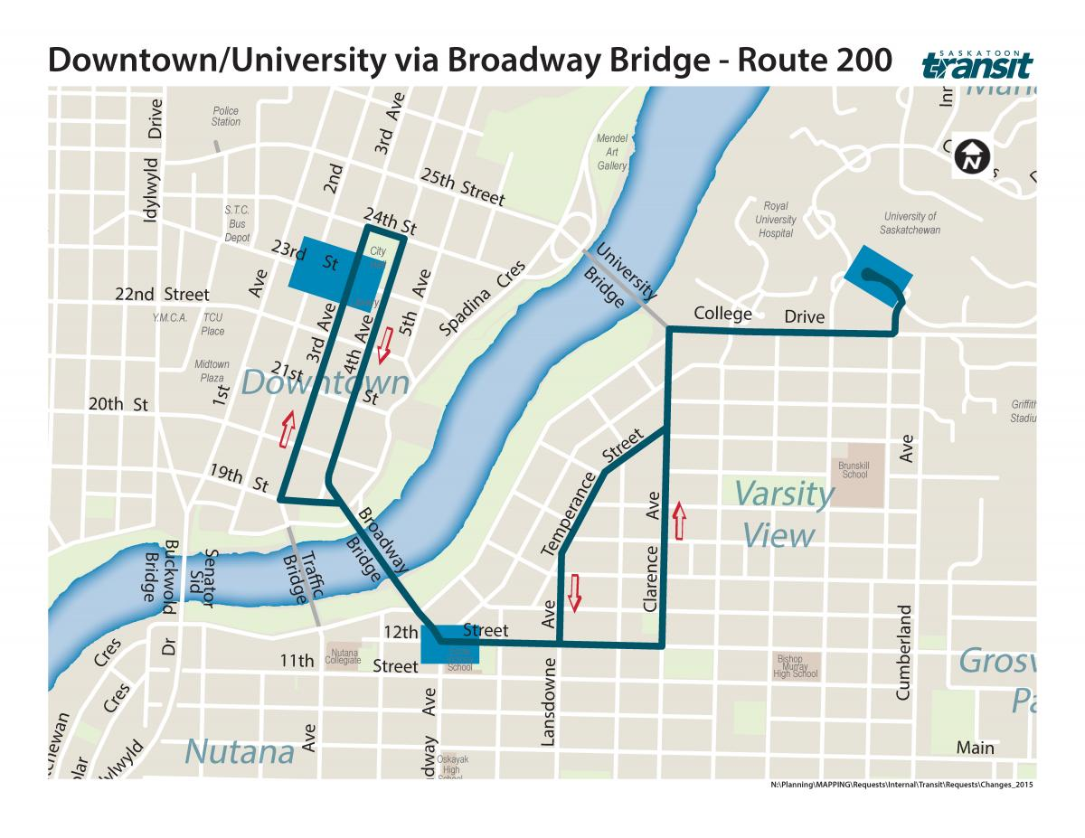 Shuttle Bus Route via Broadway Bridge