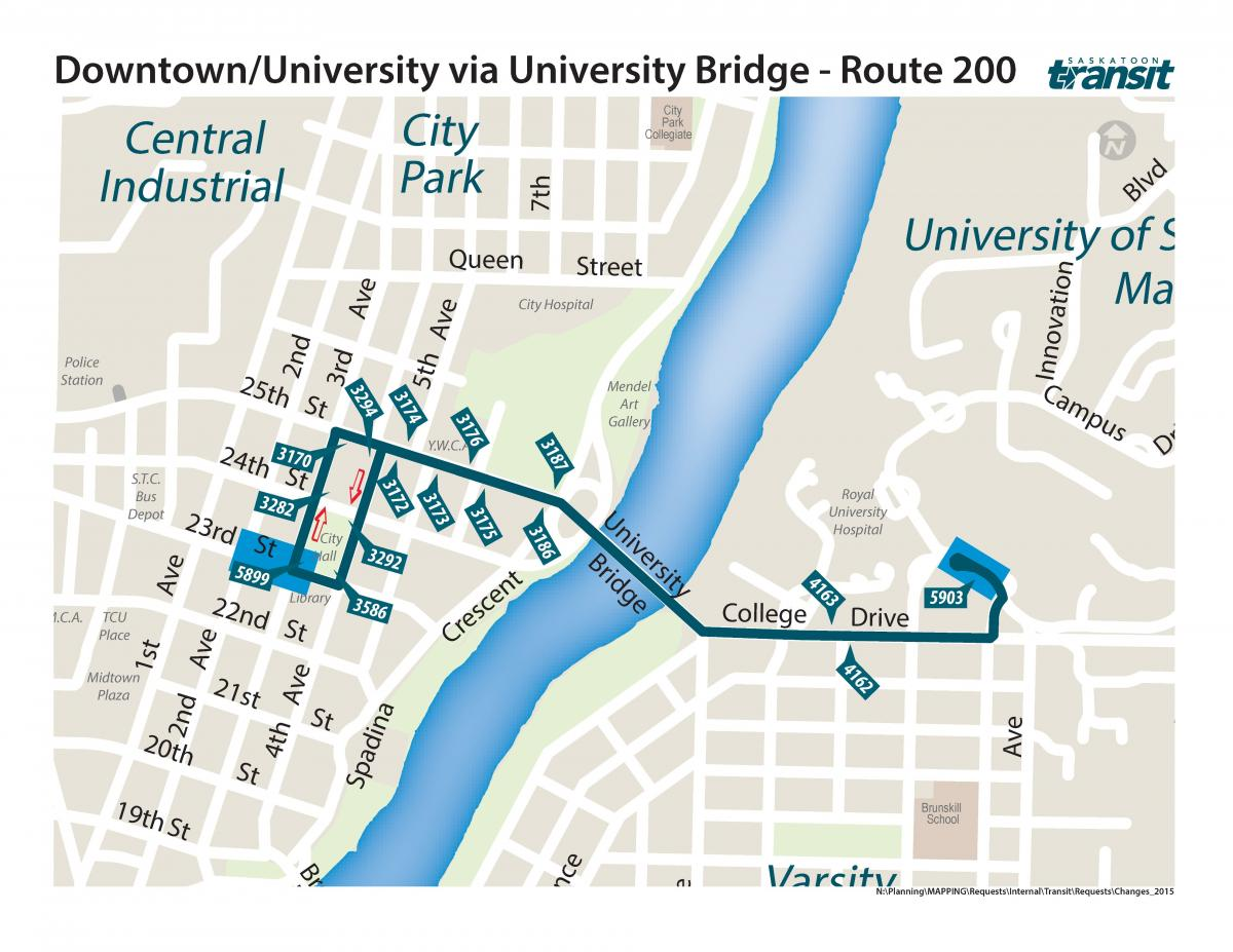 Shuttle Bus Route - Downtown to University Bridge